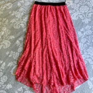 LuLaRoe Coral Pink Lace Lucy Skirt